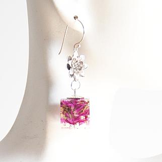 Resin heather Flower Earrings- Resin Earrings-Resin jewelry-Resin Flower earrings-Heather Flower Square Earrings- Mother's Day Gift For Her