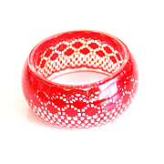 Resin Bangle Bracelet With Red Lace -Resin Bracelet-Resin Jewelry- Resin Red Bracelet-For Her-Mother's Day Gift - Bangle Bracelet-gift