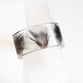 Resin Bangle Bracelet With pheasant feathers -Resin cuff Bracelet-Resin Jewelry- Resin feather Bracelet-Mother's Day Gift- Bangle Bracelet-