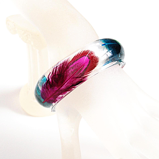 Resin Bangle Bracelet With Blue And Magenta Pheasant feather -Resin Bracelet-Resin Jewelry-Resin Feather Bracelet-For Her- Mother's day Gift