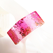 Pink Square Resin Bracelet With Mix metallic Flakes- Resin jewelry- Resin Bracelet- Bangle Bracelet-Resin Bangle Bracelet-Mother's Day Gift