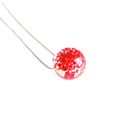 Real Red Flower Resin Sphere Necklace- Resin Pendant Necklace- Resin jewelry- Resin Flower Pendant-Red Flower Sphere necklace- Mother's Day