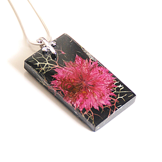 Black Resin Nigela Flower Necklace- Resin Jewelry-Resin Necklace-Mother's day Gift-Black resin pendant- Gift for Her-Flower Resin Necklace-