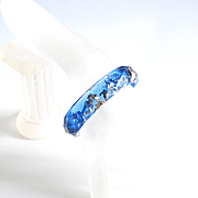 Blue Resin Bangle Bracelet With Gold And Silver Metallic Flakes-Resin Bracelet-Resin Jewelry- Resin Blue Bracelet-For Her-Mother's Day Gift