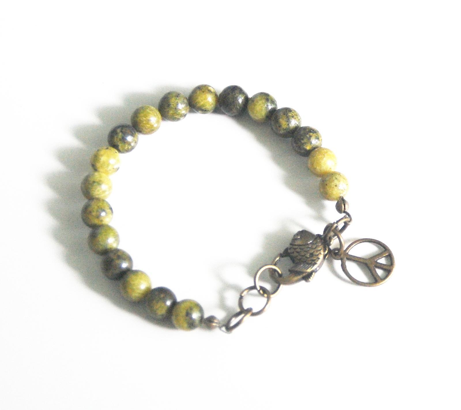 Russian Obsidian  and Yellow serpentine  Bracelet-Mens bracelet