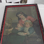 Victorian Picture of Child and Bird - Red Tag Sale Item