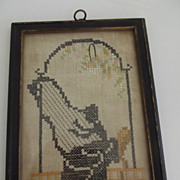 Early Cross Stitch Lady With Harp Silhouette Type