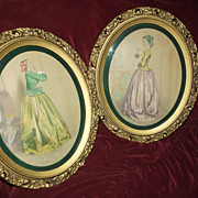 Lovely Pair of Hand-Tinted Ladies
