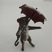Little Metal Dog With Umbrella