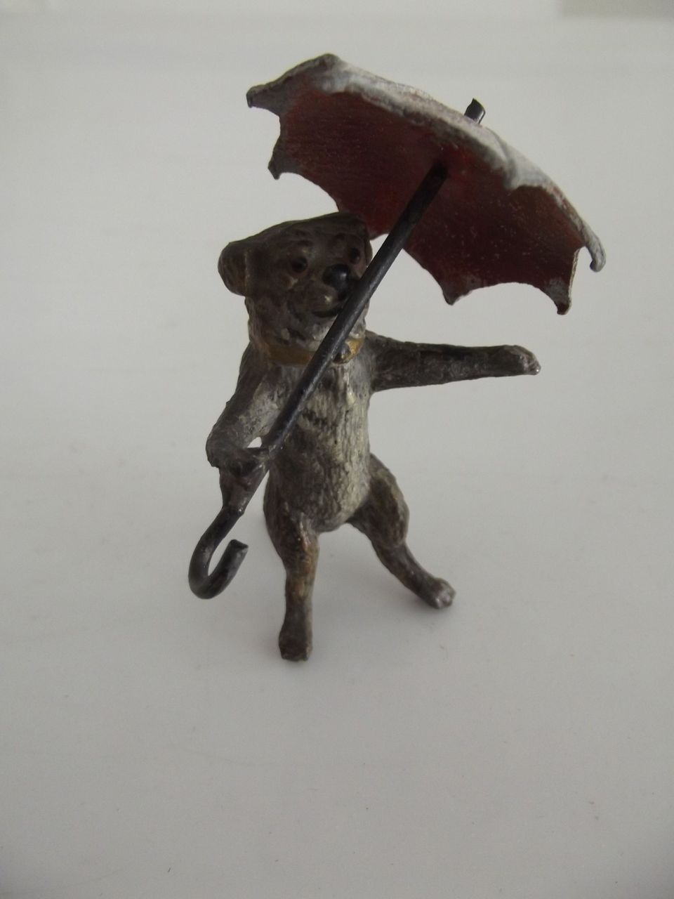 Little Metal Dog With Umbrella