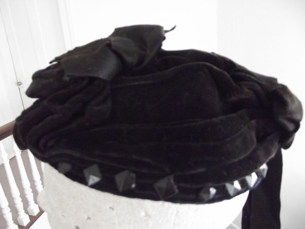 Victorian Mourning Hat With Jet