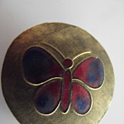 Tiny Brass Box With Enamelled Butterfly
