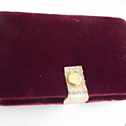 Velvet Cased Vanity Set, Tweezers, comb, nail file, scissors