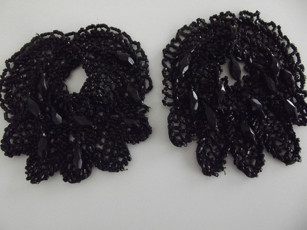 Pair of Victorian Jet Trim Pieces