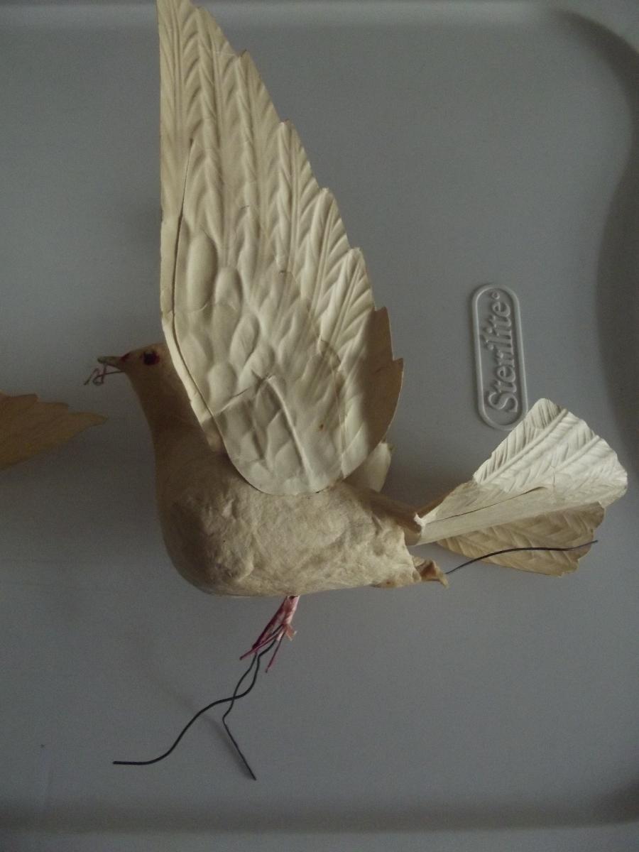 Pair of Spun Cotton Doves