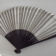 Large Vintage Paper Fan With Lacquered Side Guard