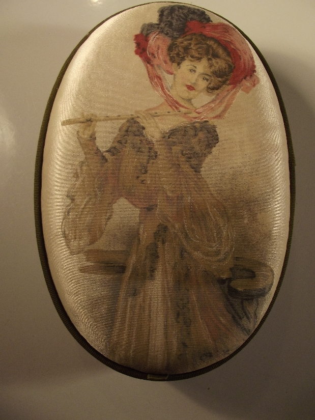 Oval Silk Hand-Painted box With Victorian Lady and Flute