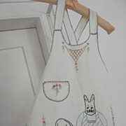 Child's Embroidered Apron With Rabbits