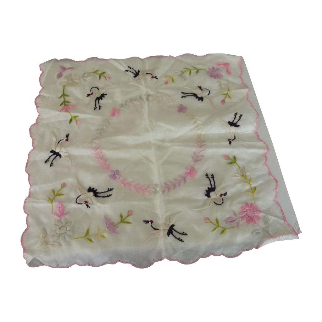 Silk Handkerchief With Flowers and Birds