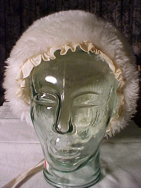 White Faux Fur Winter Bonnet