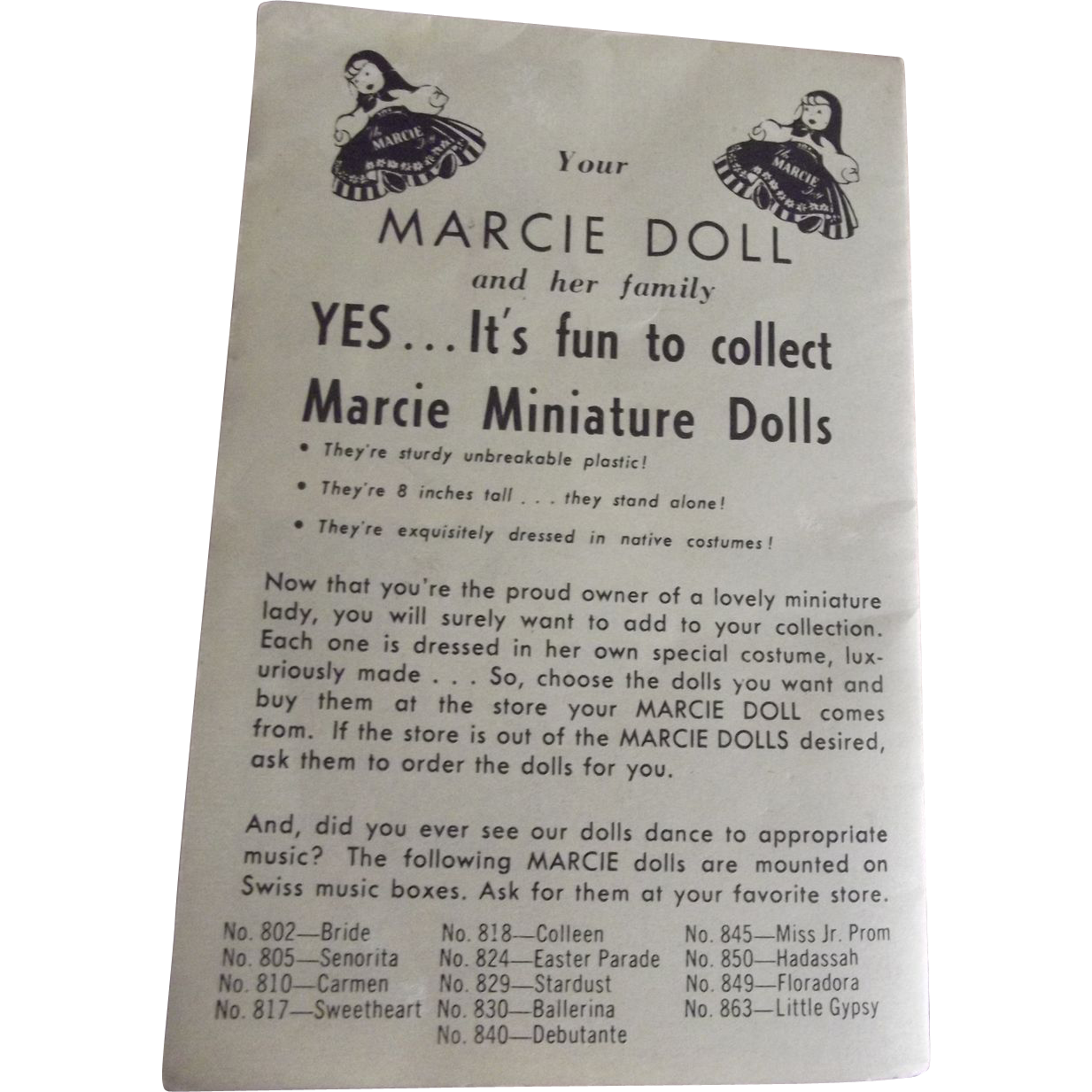 Marcie Dolls Booklet