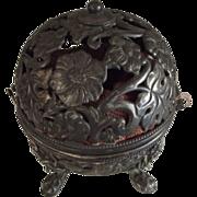 Open Work Silver Plate Jewelry Box