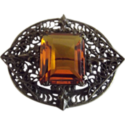 Deco Pin With Glass Topaz Stone