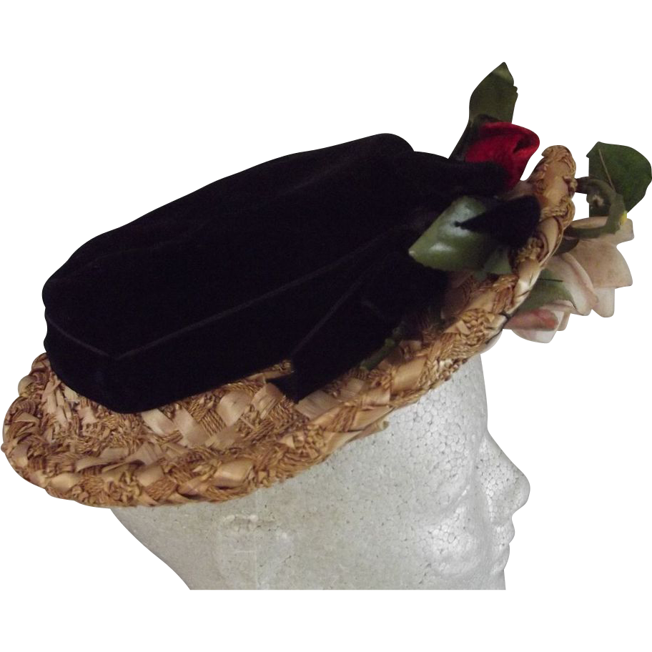 Vintage Straw and Velvet Hat With Roses