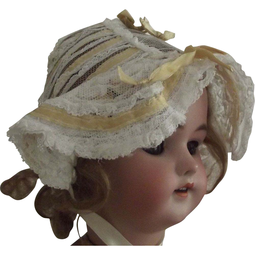 Fancy Bonnet With Netting, Ribbons and Lace