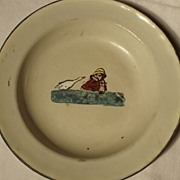 Enamel Bowl With Child and Duck