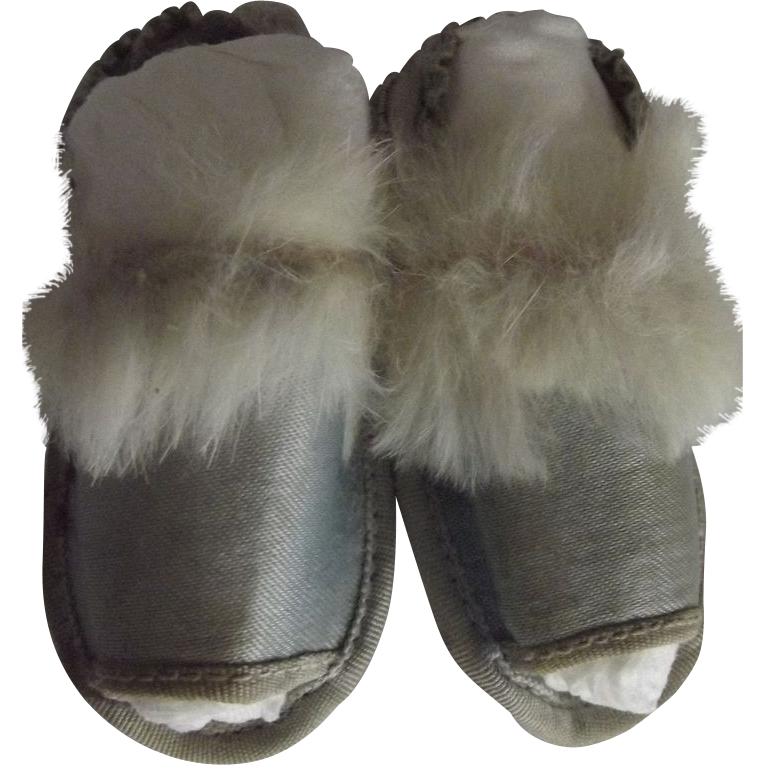 Doll Slippers With Fur Trim