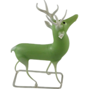 Art Deco Uranium Glass Reindeer Figurine Green Stag Christmas Decoration - Red Tag Sale Item