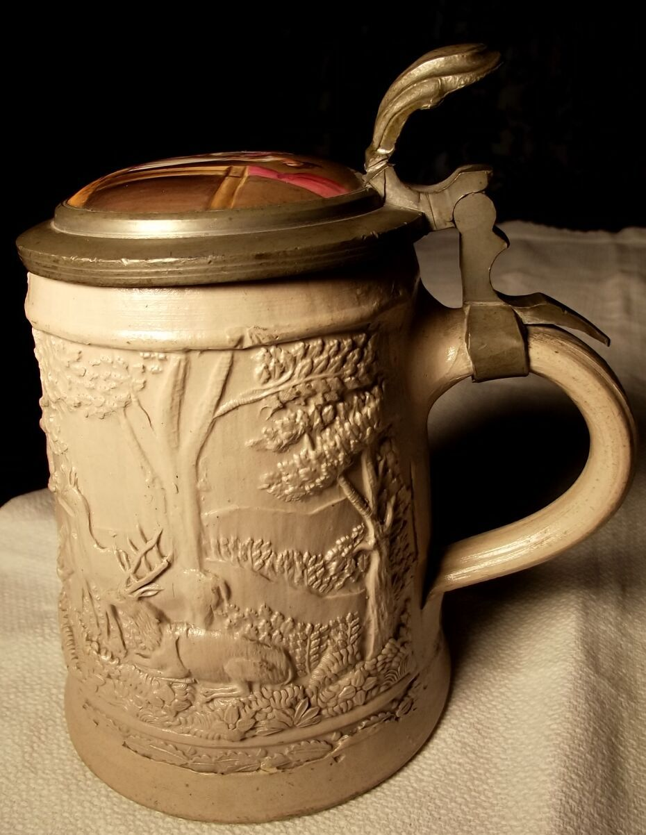 Old German Stein With Porcelain Painting  On Top