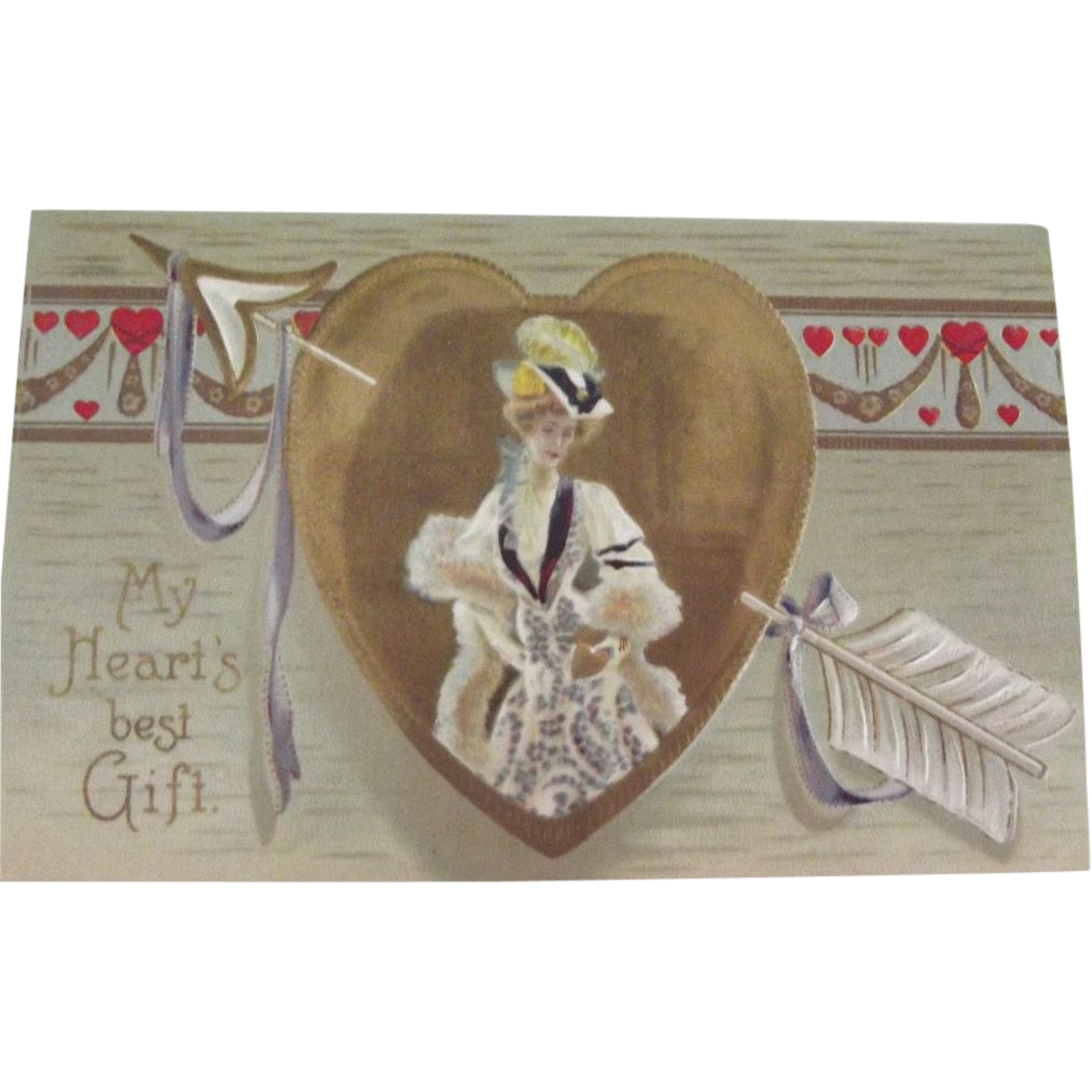 German Embossed Valentine Post Card