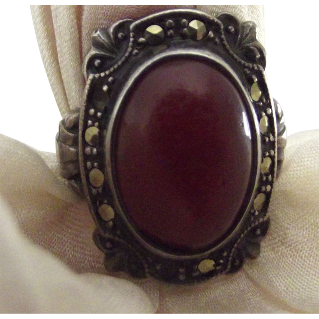 Sterling and Marcasite Ring With Stone
