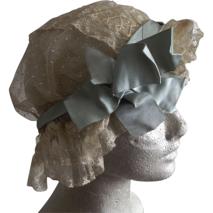 Net Sleeping Cap With Silk Bow