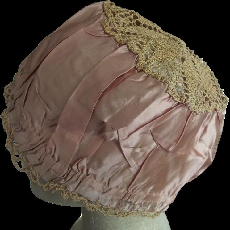 Pink Silk Flapper Cap