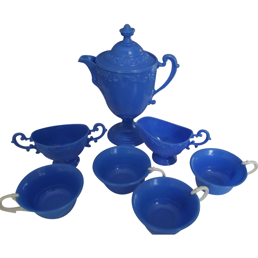 Blue Doll's Tea Set