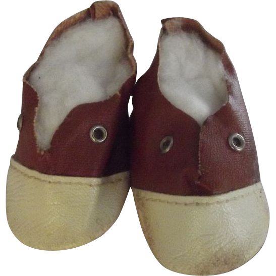 Brown and White Doll Shoes