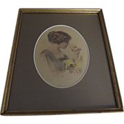 Edwardian Lady With Lilies Print