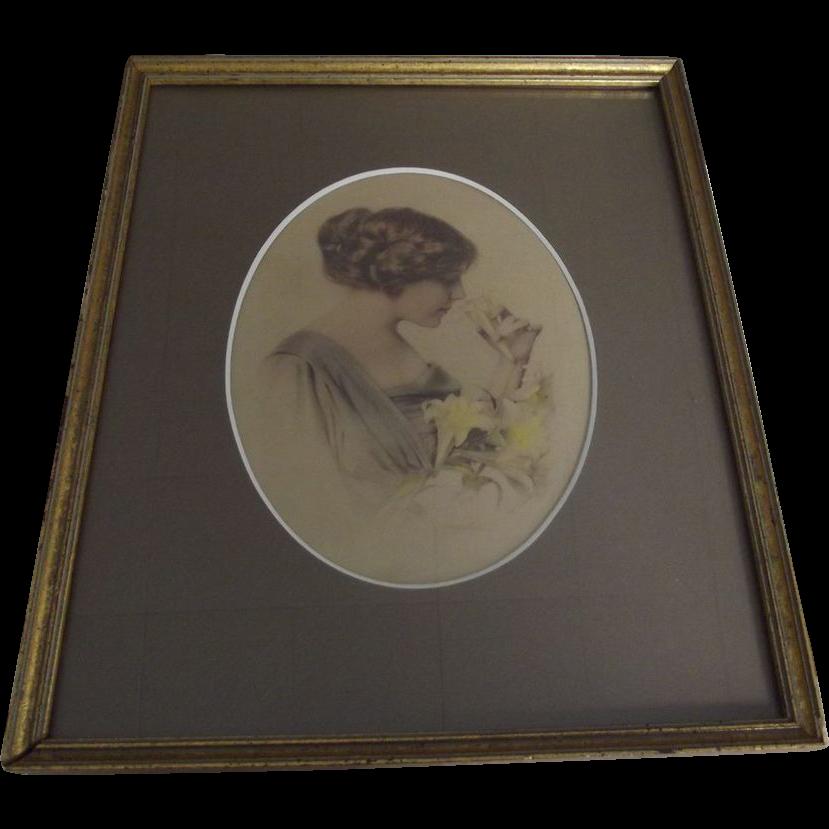 Edwardian Lady With Lilies Print