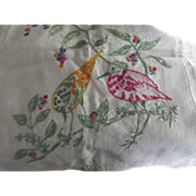 Cotton Runner With Embroidered Birds