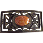Early Large Pin With  Orange Speckled Cabochon