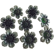 Green Metal With Molded Glass Center Push Pins