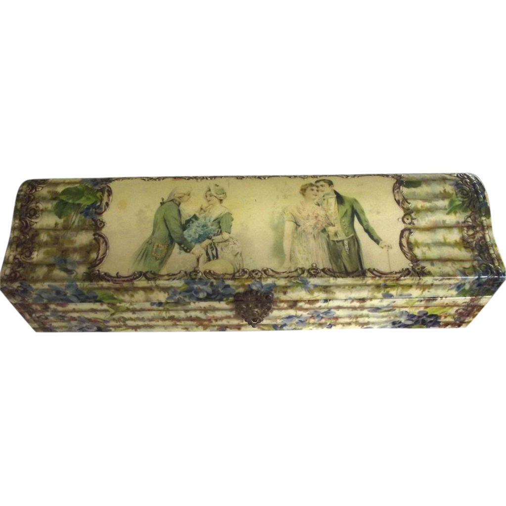 Celluloid Box With Two Couples and Flowers