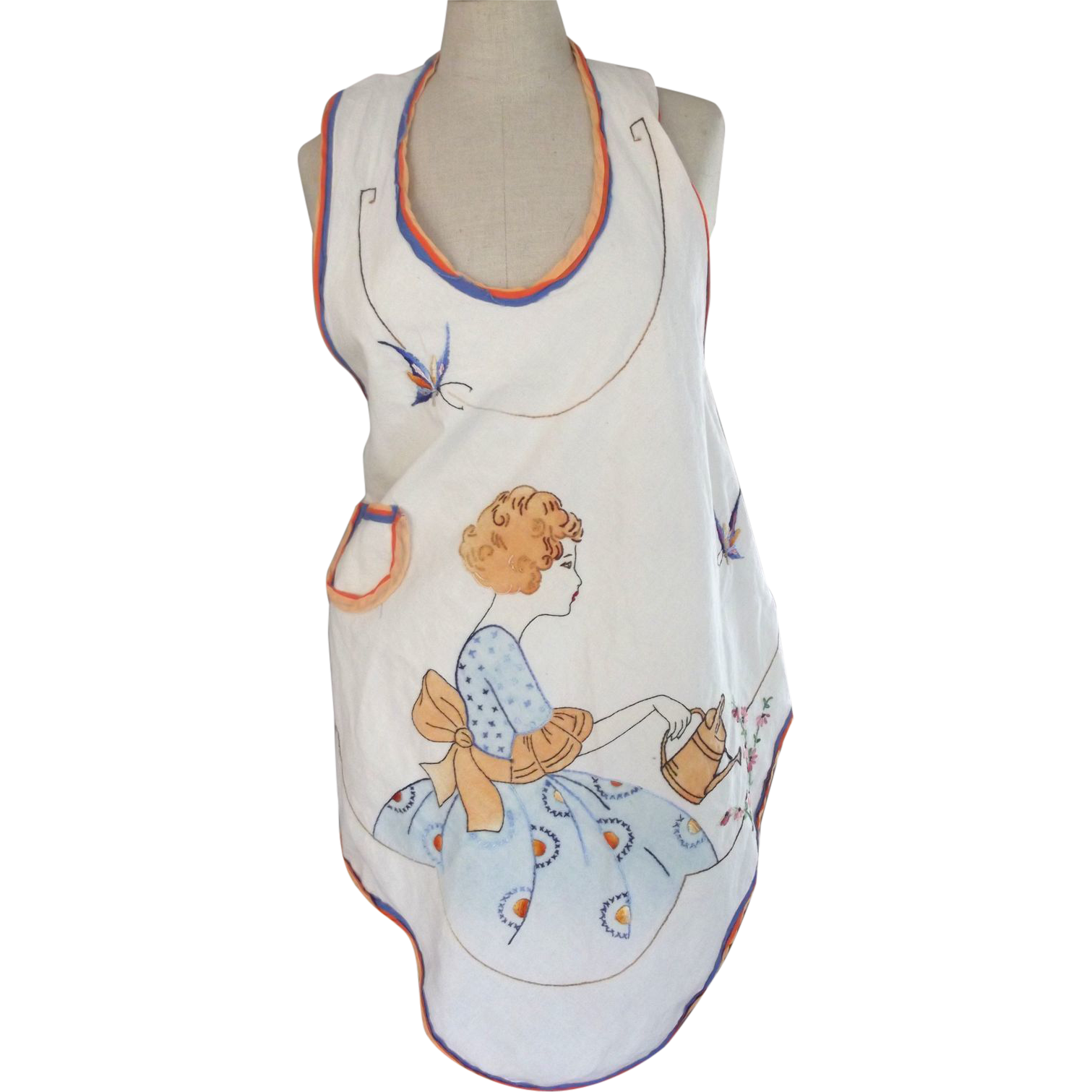 Apron With Lady, Flowers,Watering Can and Butterflies