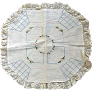 Pillow Cover With Embroidered Flowers