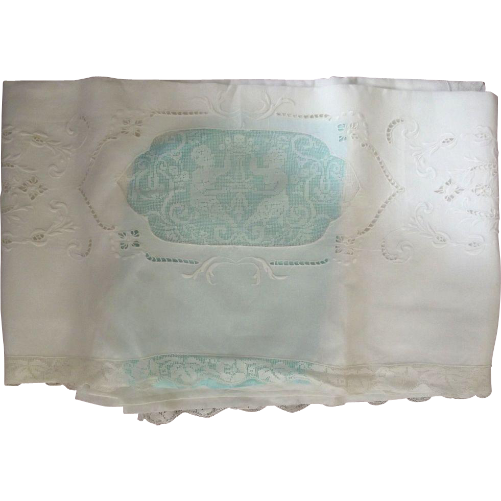 Sheet With Inset Figures, Cut Work and Lace