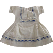 Cotton Dress With Blue Trim