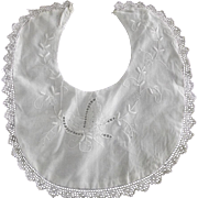 Baby Bib With Embroidered Butterfly Good For Baby Doll
